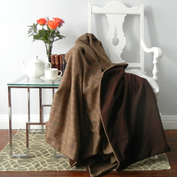 Other - Traditional Brown Tweed Wool Throw Blanket